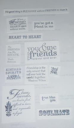 Friendly words stamped