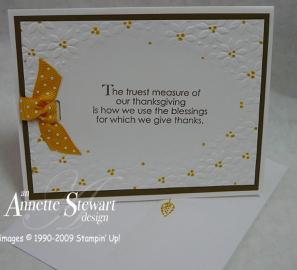 Gift bag embossed thanksgiving card