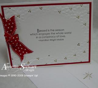 Gift bag embossed Christmas card